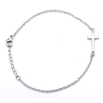 Divine Shine – Silver stainless steel multiple cubic zirconia studded cross charm bracelet