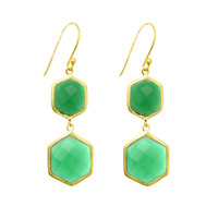 Double Drop Green Onyx Hexagons Earrings Set In Yellow Gold Plated Sterling Silver