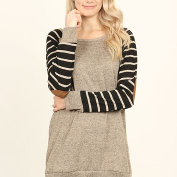 Elbow Patch Striped Sleeve Sweater