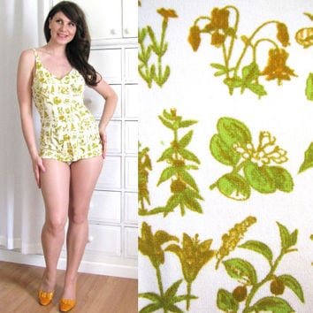 1950's Swimsuit / Botanical Novelty Print Swimsuit by Coldfish