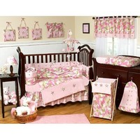 Sweet Jojo Designs Khaki and Pink Camo Camouflage Military Baby Girl Bedding 9pc Crib Set