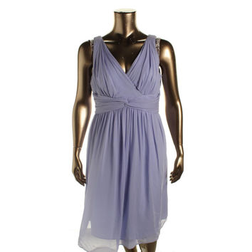 Donna Morgan Womens Silk Surplice Semi-Formal Dress