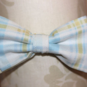 Baby Blue Plaid Adjustable Bowtie (Baby / Infant / Toddler Boy)