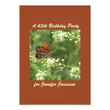 45th Birthday Party Invitation Orange Butterfly