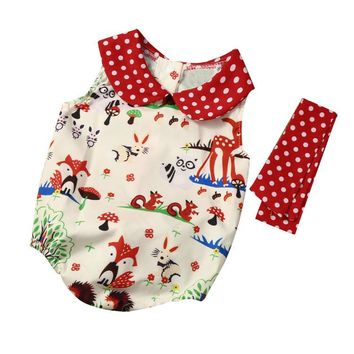 2 Pc Baby Girl Woodland Creatures Print Onesuit with Headband Sizes 6M -24M