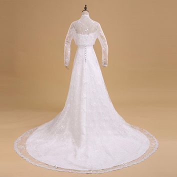 A Line Wedding Dress with Jacket Lace Wedding Dresses Bride Dress