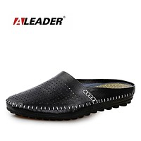 Genuine Leather Men Loafers High Quality Slip On Casual Slippers Shoes Breathable Driving Flats For Men