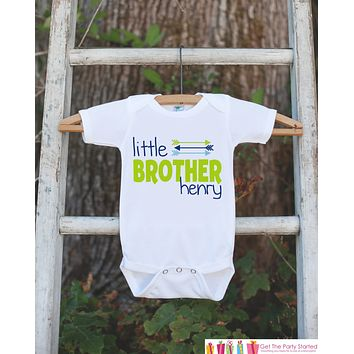 Boy's Little Brother Outfit - White Shirt, Onepiece - Personalized T-Shirt or Onepiece- Camping Shirt Baby, Toddler, Youth - Adventure