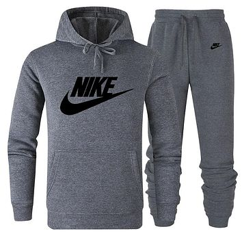 NIKE Women Men Lover Top Sweater Pants Trousers Set Two-Piece Sportswear Dark Grey