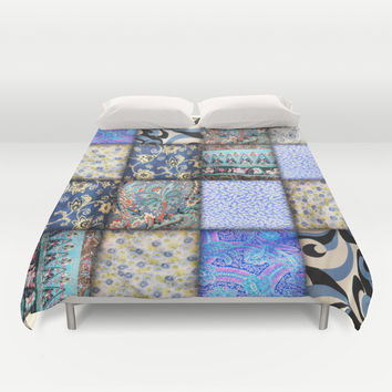 Faux Patchwork Quilting - Blues Duvet Cover by Gravityx9