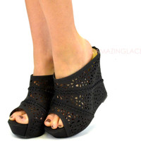 Mavery Black Perforated Slip On Wedge