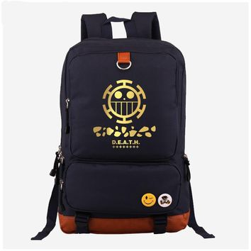 Japan Anime One Piece Trafalg Law cosplay Backpack Fashion Canvas Student Luminous Schoolbag Unisex Travel Bags