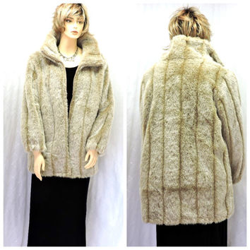 Vintage 80s light brown faux fur coat L fake fur mink coat size large Roamans faux fur jacket honey blonde faux fur SunnyBohoVintage