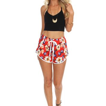 Floral Tulip Shorts Red