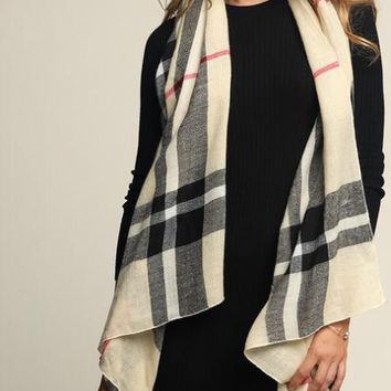Classic Plaid Woven Oblong Scarf
