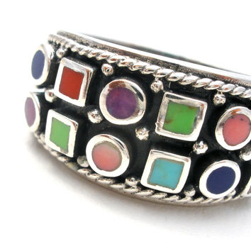 Sterling Silver Size 5 Ring Turquoise Coral Lapis Gaspeite