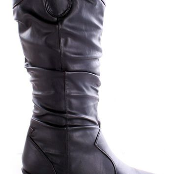 BLACK FAUX LEATHER MID-CALF WESTERN RUCHED BOOTS