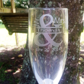 Mr. and Mrs. Bride and Groom Champagne Flutes Set of 2