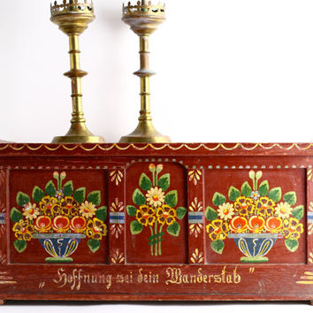 Antique Dowry Chest - Boho Chic Trunk - Hand Painted Folk Art