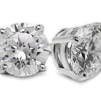 Amazon.com: 1/2 Ctw Diamond Studs GH/SI1-SI2 14K White Gold: Jewelry