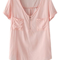 ROMWE Asymmetric V-neck Dual-pocket Loose Pink T-shirt