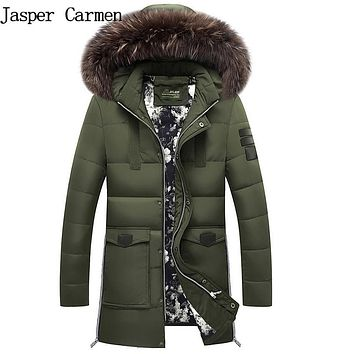 Free shippipping Fur 2017 New Winter Jacket Men Cotton Padded Parka Man Long Thick Warm Casual Hooded Male Jacket Coat 155hfx