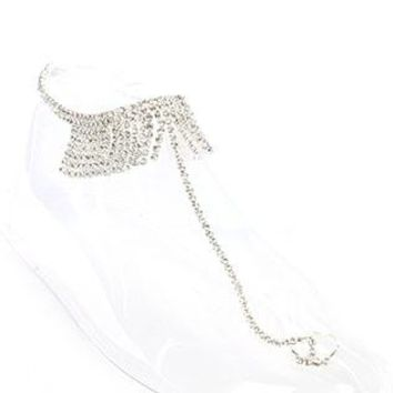 Slave Toe Ring Stretch Rhinestone Fringe Anklet