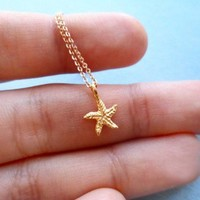 Ariel Organic Starfish, Gold Filled pendant and chain, Necklace