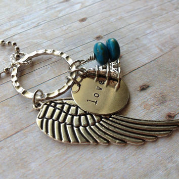 Love Silver Angel Wing Necklace, Eiffel Tower Turquoise Hand Stamped