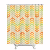 "Fabric Shower Curtain ""Infinity"" , Chevron, Colorful, Rainbow, Bathroom, Bath, Custom,Shower, Home Decor, Arrow, Geometric, Design"