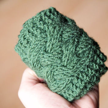 on SALE 30% - Winter knit headband, beautiful cozy, thick, cable pattern Knitted Headband, green Knit Head Wrap, Knitted Ear Warmer,