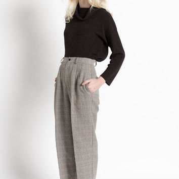Vintage Black and White Houndstooth Plaid High Waist Pleated Trousers | 2
