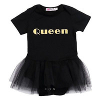 2016 Newborn Baby Girls One-piece  Letter Tutu  Dress Black