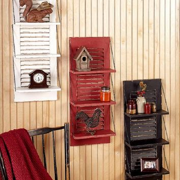 Distressed Finish Shutter Wall Shelf 3 Hinged Shelves Country Rustic Primitive