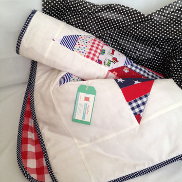 Star quilt~ handmade baby quilt~ red, white and blue~ gingham~ patchwork crib quilt~ star nursery cot quilt~ gender neutral baby~ crib quilt