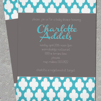 Charlotte Turquoise Modern Quatrefoil Bridal Baby Shower Invitation Surprise Birthday Wedding Save Date Printable Digital File or I Print