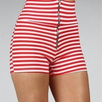 Red/White High Waist Shorts :: www.windsorstore.com