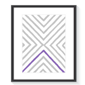 Modern X Print Art - Printable Wall Art - Digital Wall Print - Home Decor - Purple and Grey