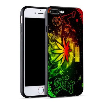 Rasta Leaf Soft Silicone Phone Case for iPhone X 5 5S 6 6S 7 8 Plus Cover