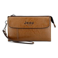 JEEP BULUO Men Mobile Phone Bag Zipper Handbag Weaving Khaki