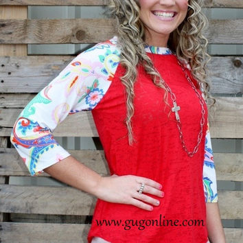 Wondering Eye Burnout Baseball Tee in Colorful Paisley Sleeves