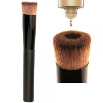 Pro Concave Style Wood Handle Nylon Fiber Hair Liquid Foundation Brush Black Top Quality Gift + Free Shipping