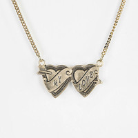 Urban Outfitters - Two Hearts Engraved Necklace
