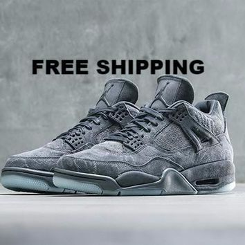 "¡¾FREE SHIPPING¡¿AIR JORDAN 4 (COOL GREY ""KAWS"") Men's BASKETBALL SHOES STYLE CODE: 9301"