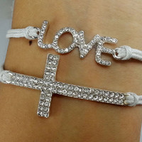 Diamonds, bracelet / Love Bracelet / Cross bracelet