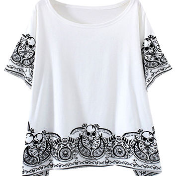 Totem Skull Print Batwing Sleeve Cropped Top