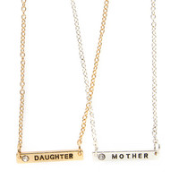 Silver and Gold Mother Daughter Bar Pendant Necklaces Set of 2