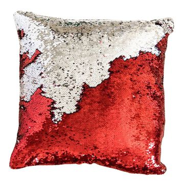 16x16 inches Mermaid Sequin Pillow with Insert-Red Silver