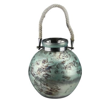 Seaside Treasures Seafoam Green and Black Marbled Glass Hurricane with Rope Handle 14.5""