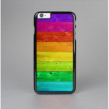 The Rainbow Highlighted Wooden Planks Skin-Sert Case for the Apple iPhone 6 Plus